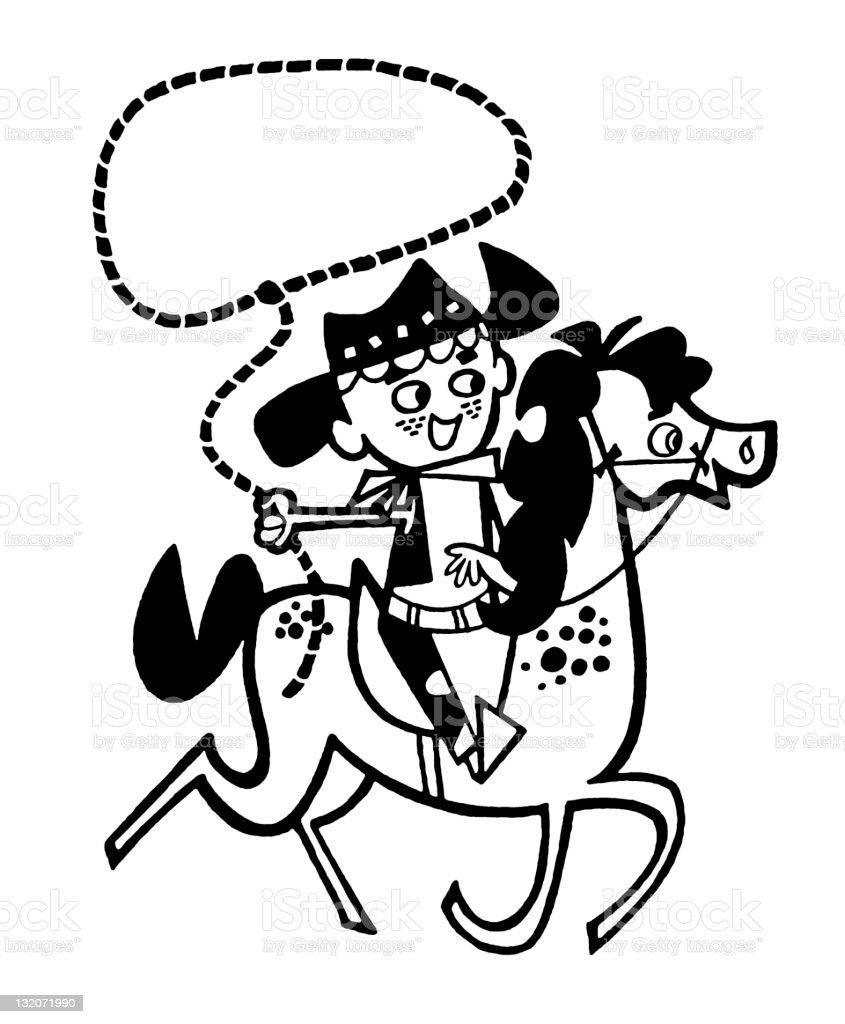 Boy Cowboy on Horse vector art illustration