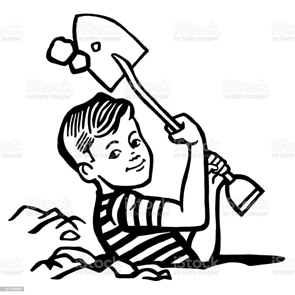 Boy Digging Hole royalty-free stock vector art