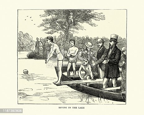Vintage engraving of a Boy diving into lake from rowboat, Victorian 19th Century