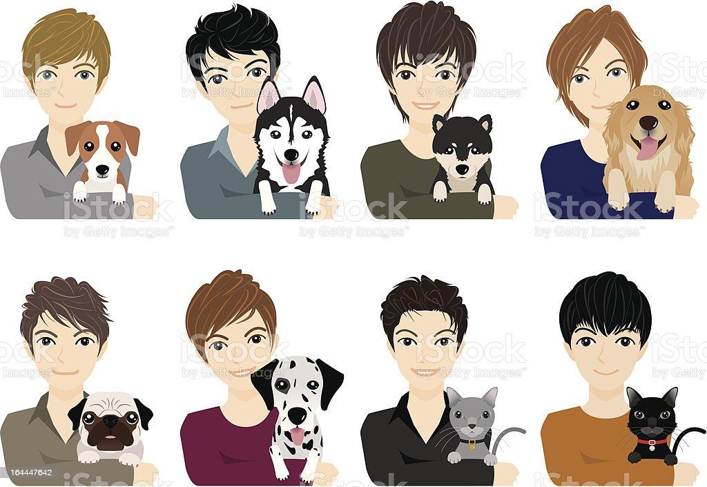 Boy / Dog&Cat royalty-free stock vector art