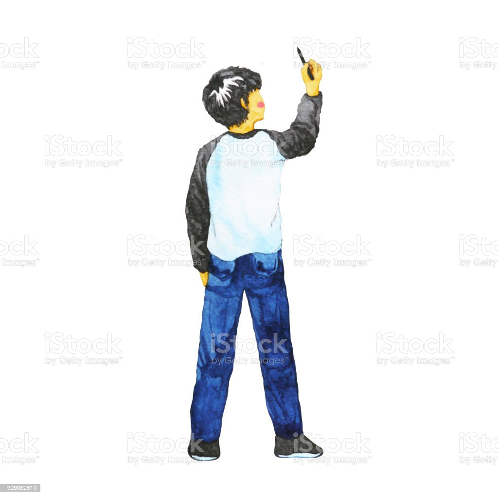 boy drawing in the air, watercolor painting design illustration vector art illustration
