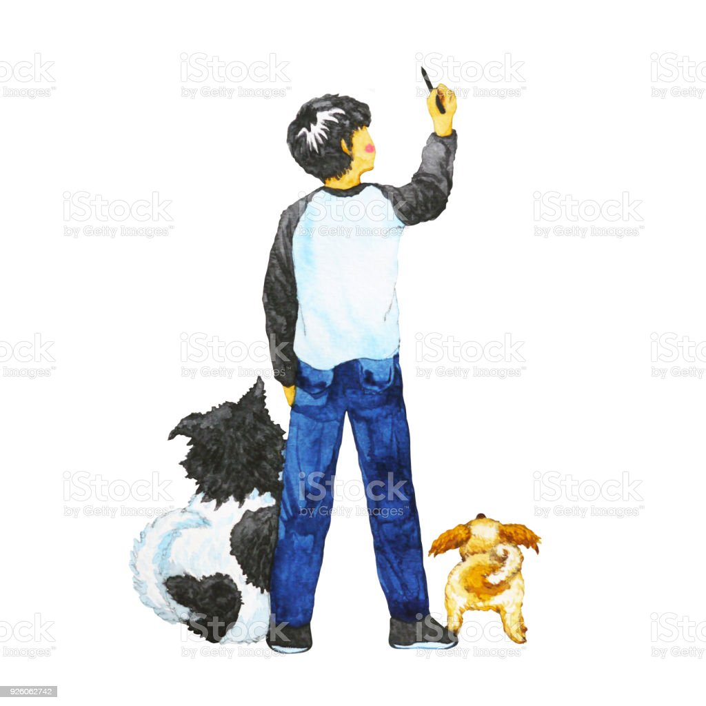 boy drawing in the air with his dogs, watercolor painting design illustration vector art illustration