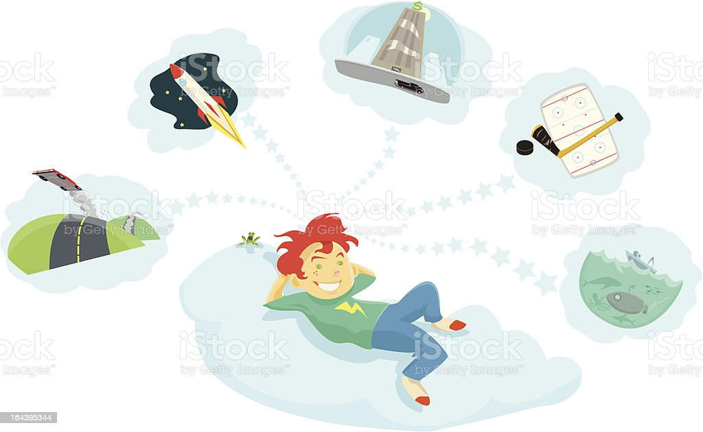Boy Dreaming of His Future royalty-free boy dreaming of his future stock vector art & more images of amphibian