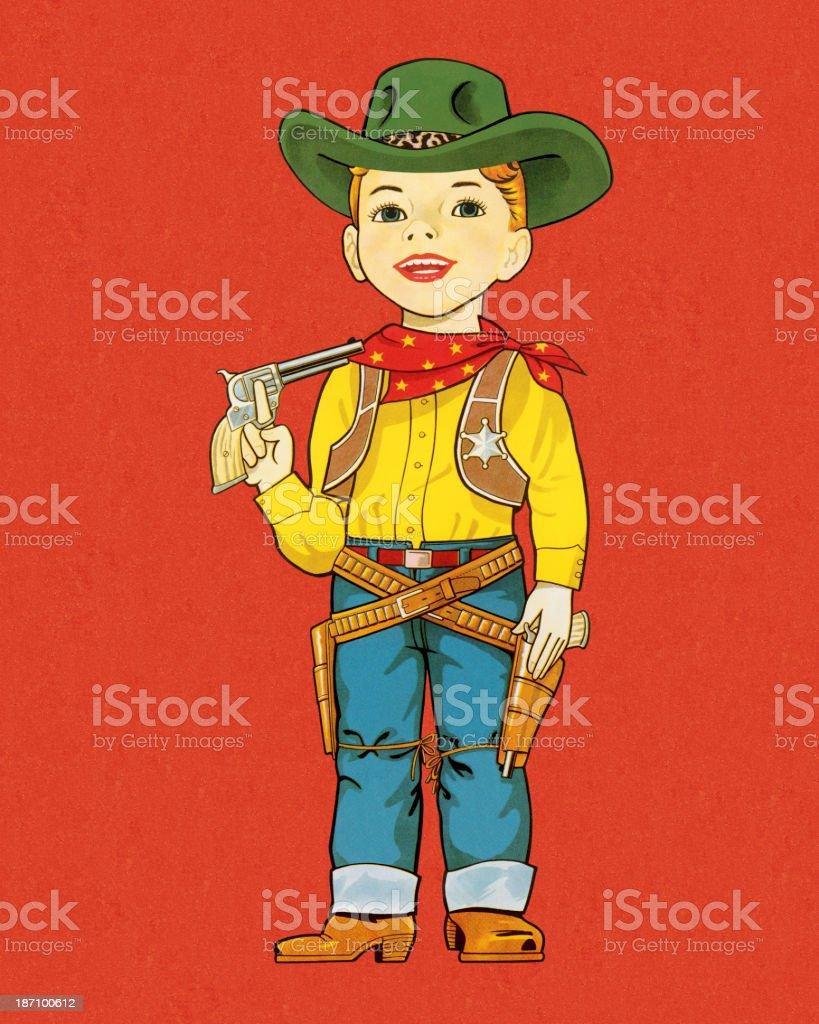 Boy Dressed as A Cowboy royalty-free stock vector art