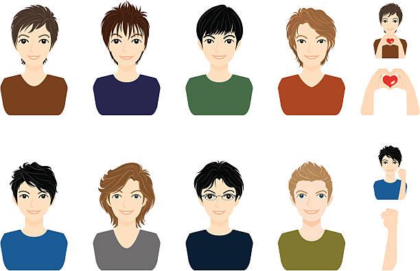 boy /顔 - 髪型点のイラスト素材/クリップアート素材/マンガ素材/アイコン素材