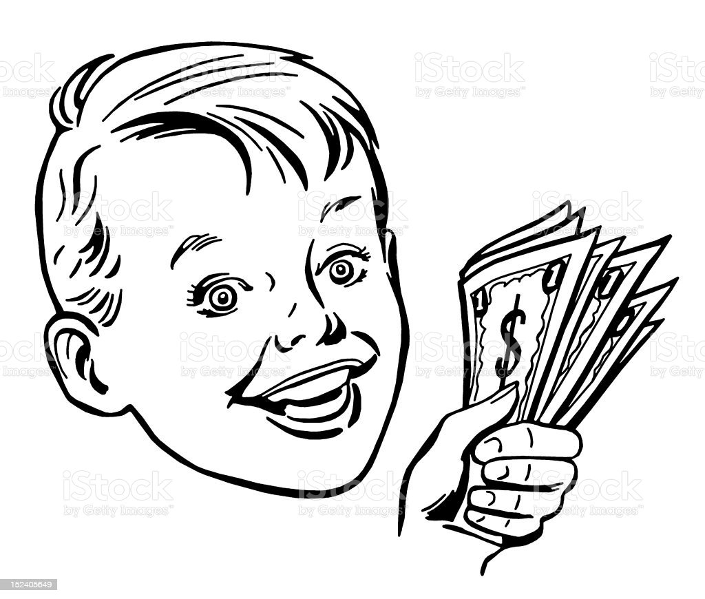 Boy Holding Cash royalty-free stock vector art