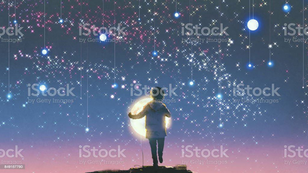boy holding glowing moon standing against hanging stars vector art illustration
