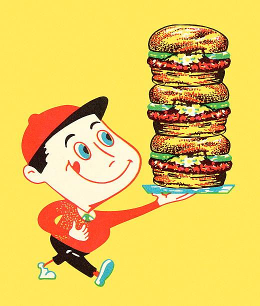 Boy Holding Stack of Hamburgers Boy Holding Stack of Hamburgers hungry child stock illustrations