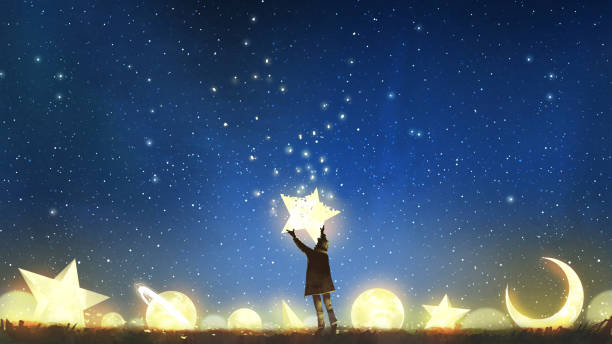 boy holding the star up in the sky beautiful scenery showing the young boy standing among glowing planets and holding the star up in the night sky, digital art style, illustration painting dreamlike stock illustrations