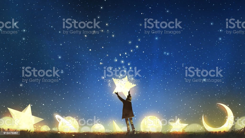 boy holding the star up in the sky vector art illustration