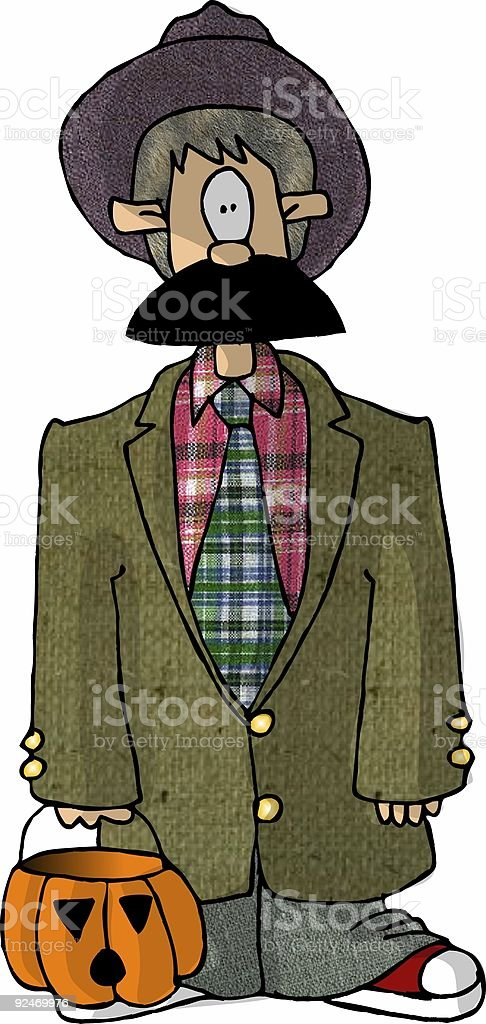Boy in an old man costume royalty-free stock vector art