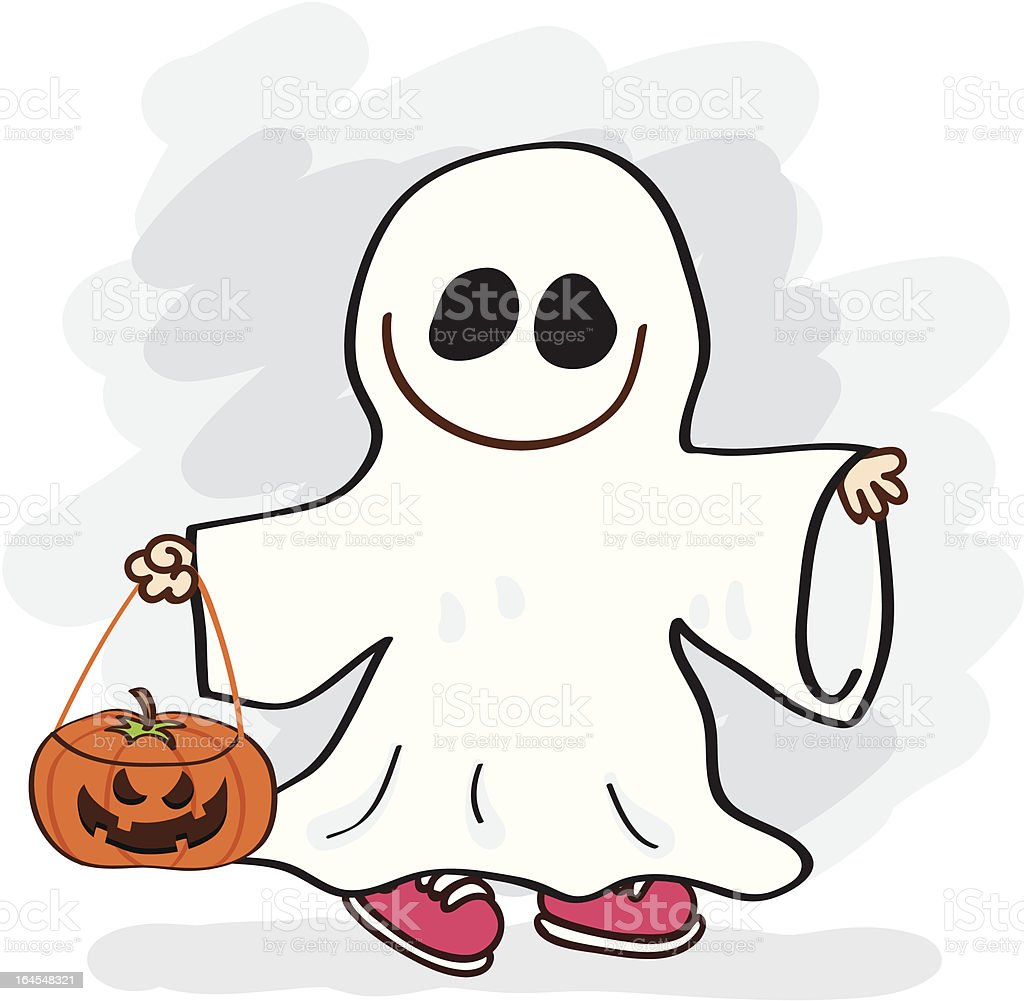 Boy In Ghost Costume Cartoon Illustration Stock Vector Art ...