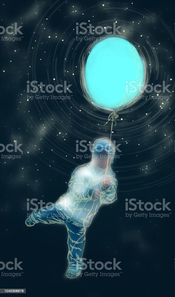 A boy in space vector art illustration