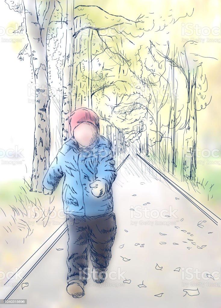 A boy in summer day vector art illustration