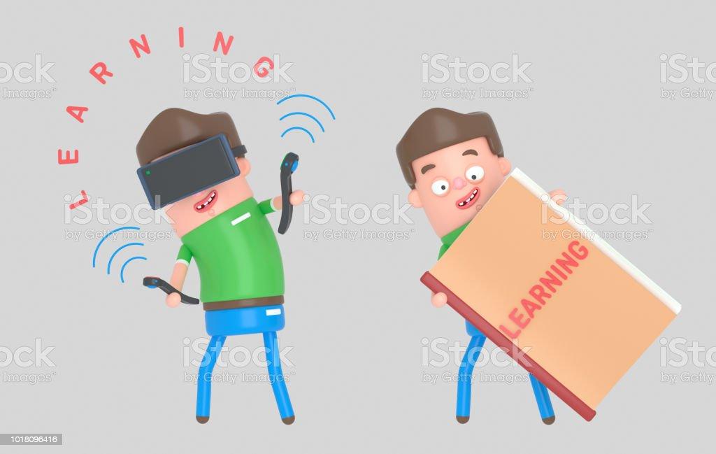 Conjunto de niño aprendiendo en un libro y una realidad virtual - ilustración de arte vectorial