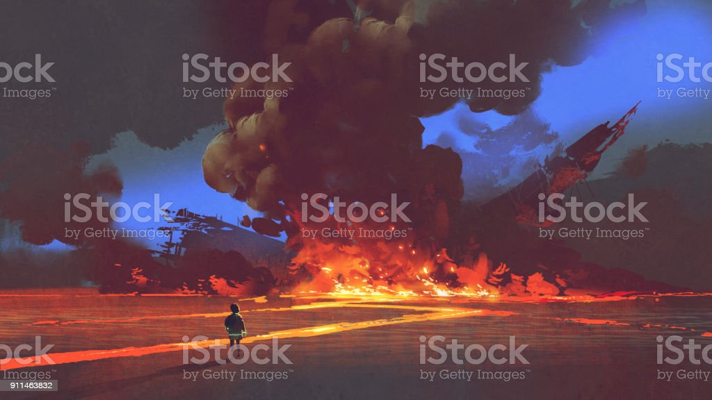 boy looking at crashed spaceship with explosion vector art illustration