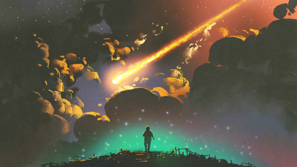 boy looking the meteor in the colorful sky - fantasy stock illustrations