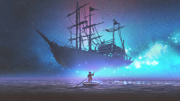 boy on a boat looking the sailing ship vector art illustration