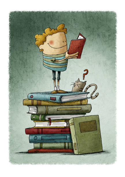 A boy on a pile of books is reading, while a cat is watching him vector art illustration