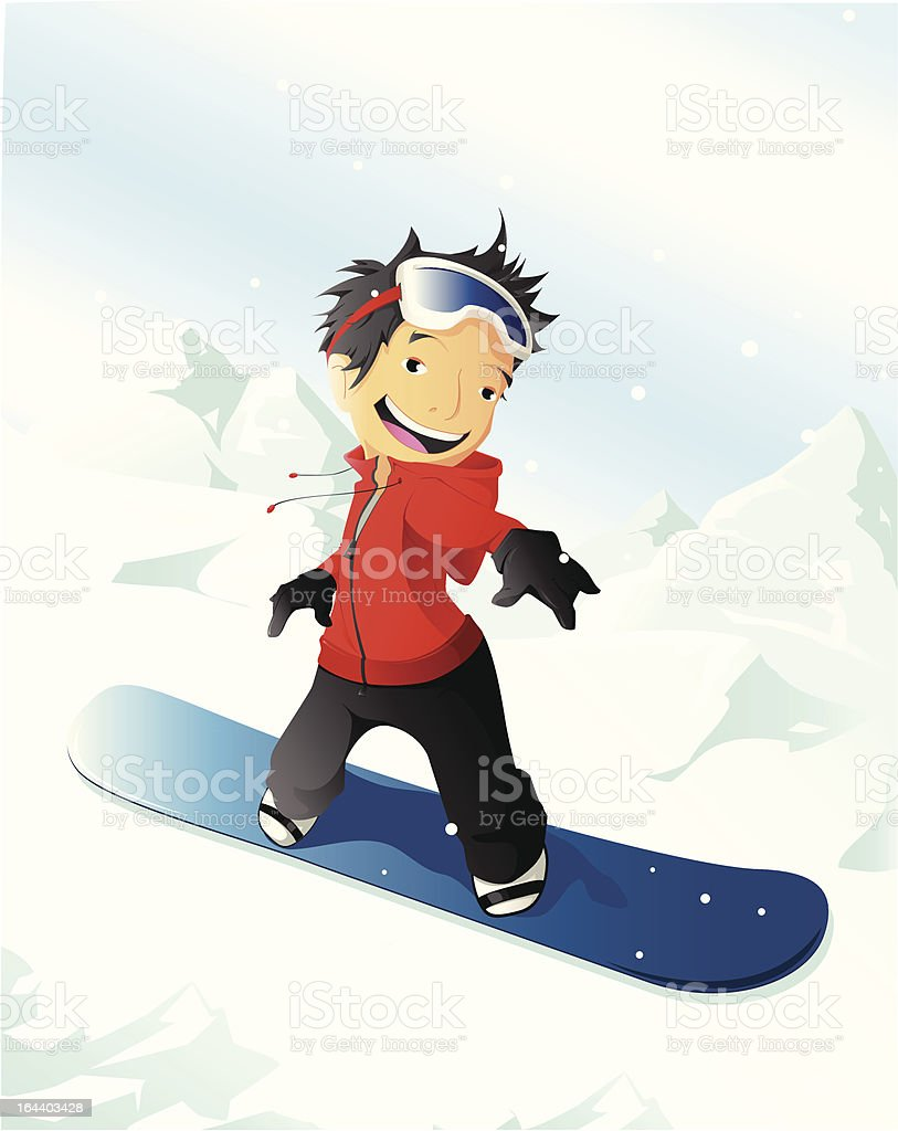 Boy on a snowboard. vector art illustration