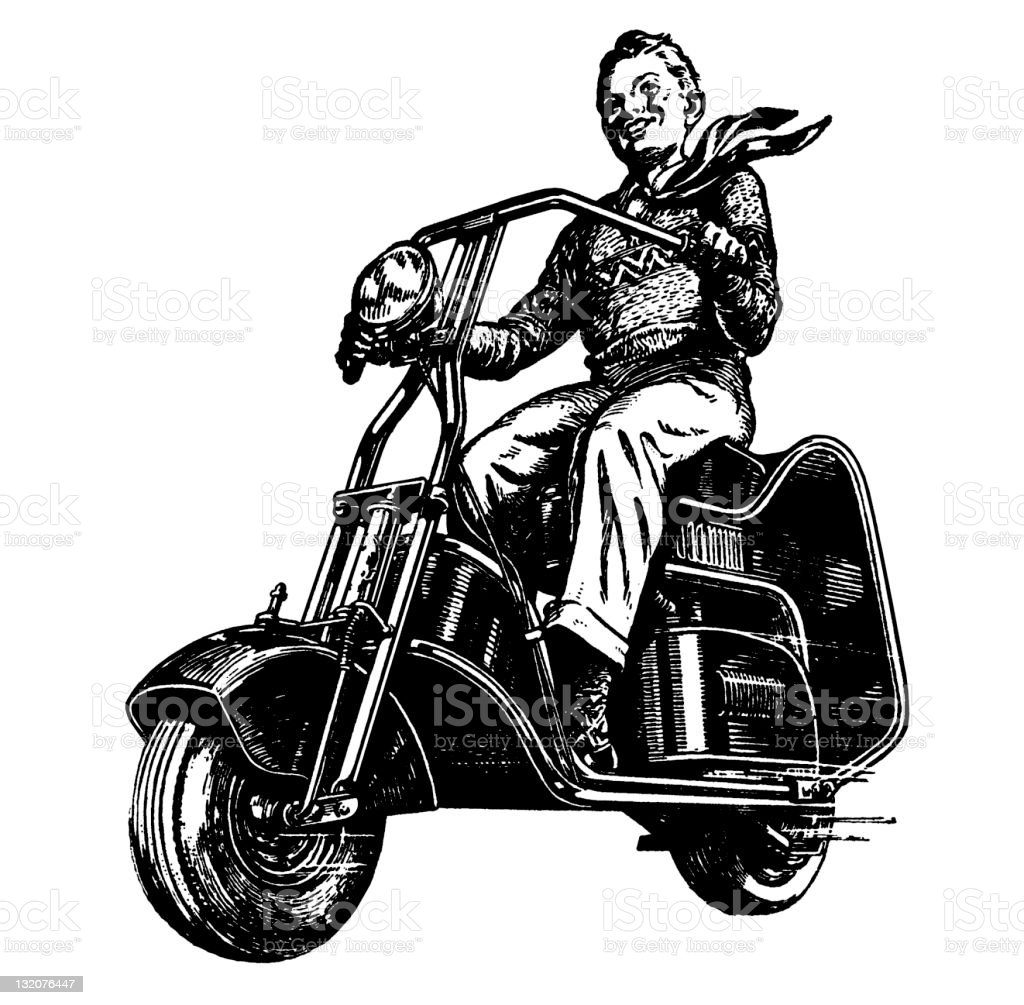 Boy on MotorBike vector art illustration