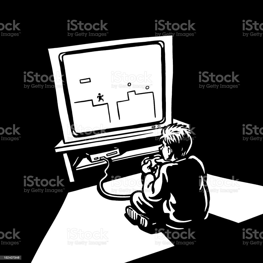 Boy Playing Video Game royalty-free boy playing video game stock vector art & more images of adolescence
