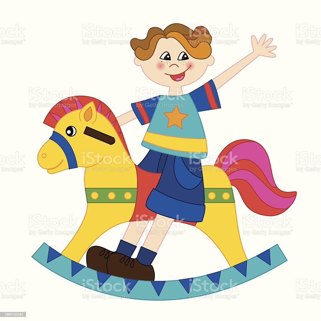 Boy playing with a rocking horse vector art illustration