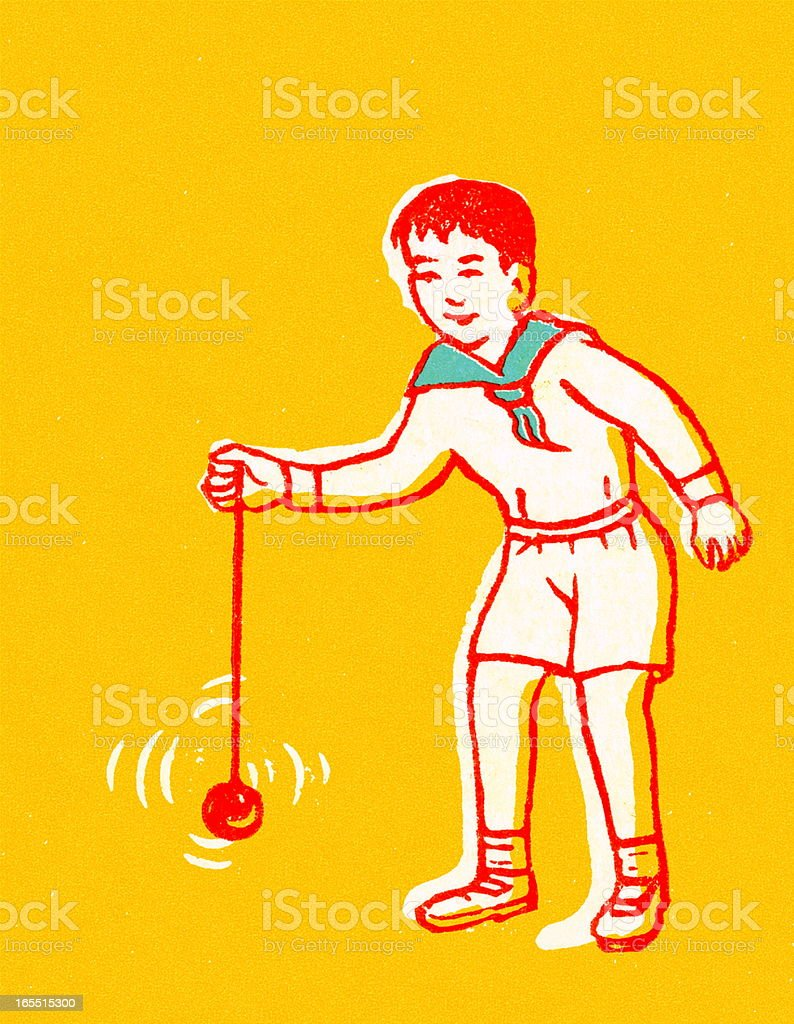 Boy Playing with a YoYo royalty-free boy playing with a yoyo stock vector art & more images of boys