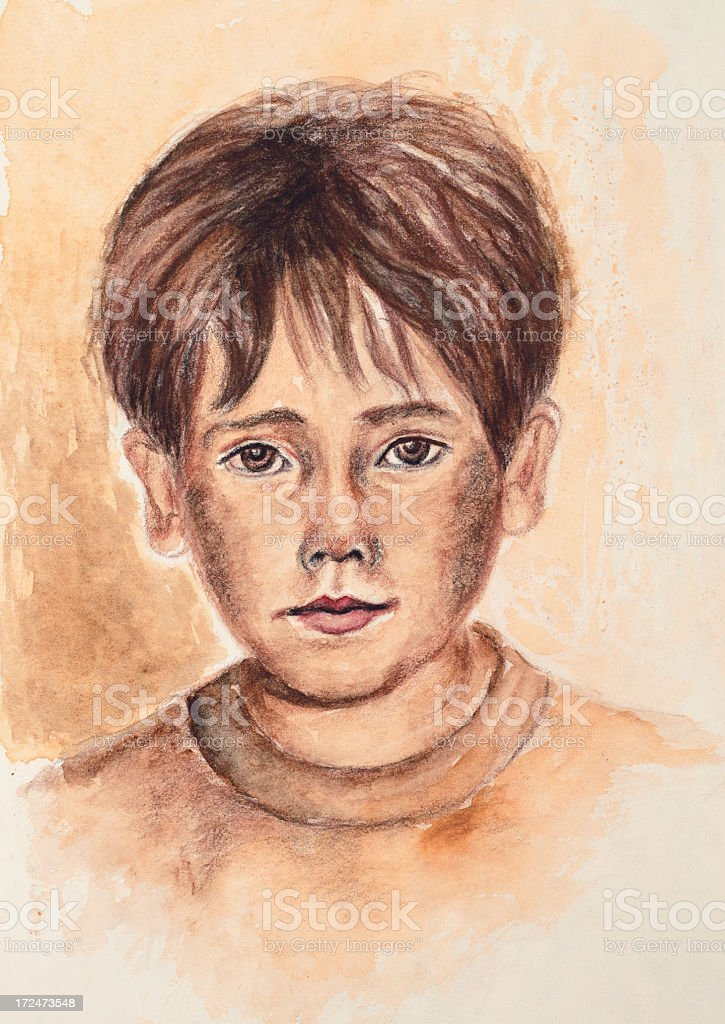 Boy portrait painting royalty-free boy portrait painting stock vector art & more images of adult