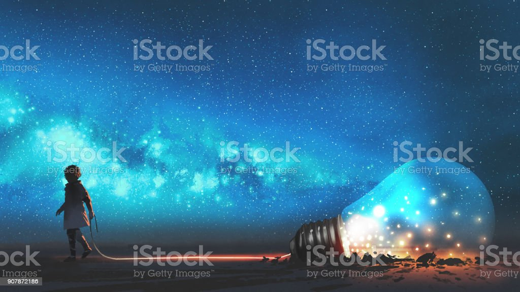 boy pulled the bulb buried in the ground vector art illustration