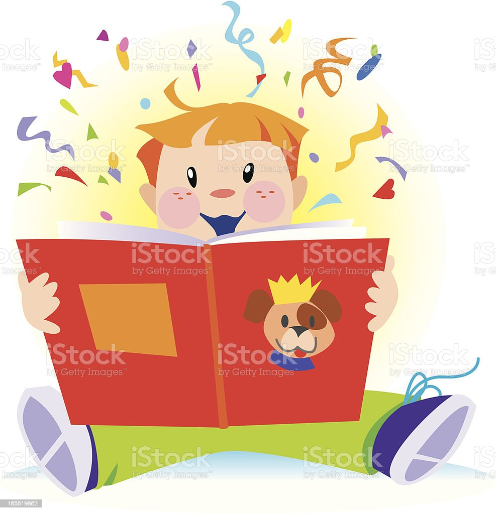 Boy Reading Storybook with sunburst and confetti royalty-free stock vector art