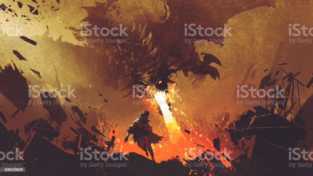 boy running away from the fire dragon vector art illustration