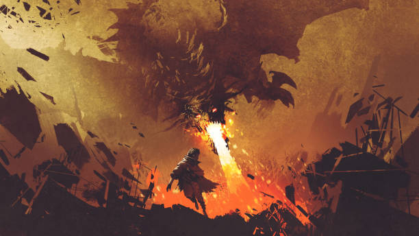 boy running away from the fire dragon fantasy scene showing the young boy running away from the fire dragon, digital art style, illustration painting dreamlike stock illustrations