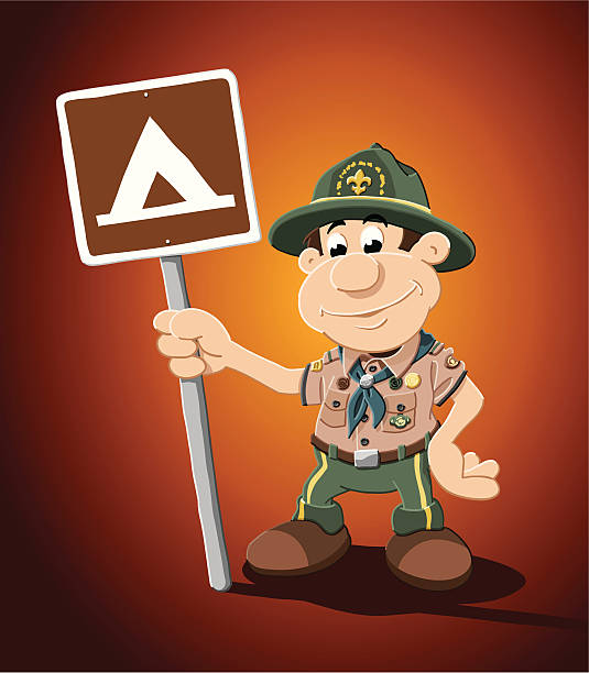 "Boy Scout Cartoon Man Campground Sign ""Vector Illustration of an boy scout, who is holding a camping sign. The background is on a separate layer, so you can use the illustration on your own background. The colors in the .eps-file are ready for print (CMYK). Included files: EPS (v8) and Hi-Res JPG."" cartoon people sign stock illustrations"