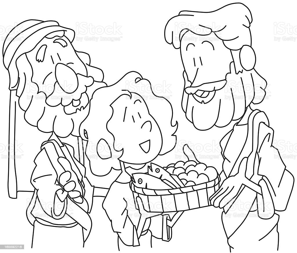 free coloring pages sharing | Boy Sharing His Bread And Fish For Coloring Stock Vector ...