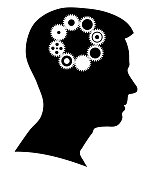 Boy silhouette with a brain gears