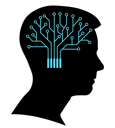 Boy silhouette with a brain printed circuit
