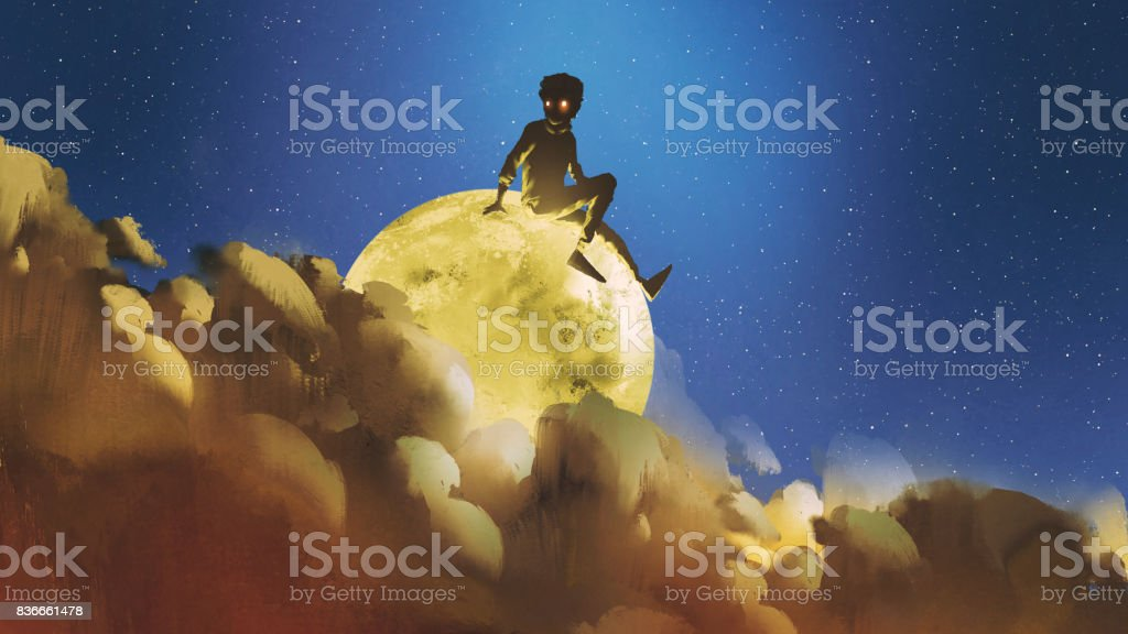 boy sitting on the glowing moon behind clouds in night sky vector art illustration
