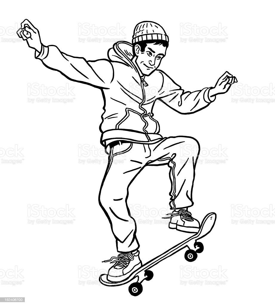Boy Skateboarding royalty-free stock vector art