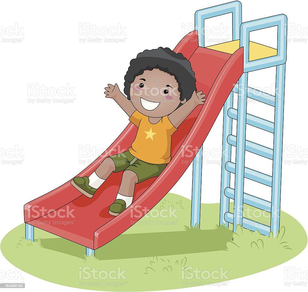 Boy sliding vector art illustration