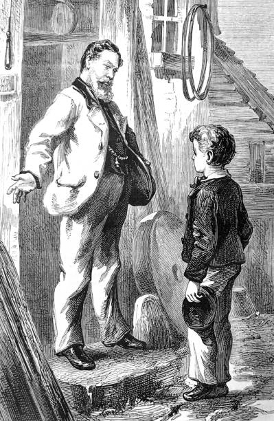 boy standing ath the door talking to a senior man - old man standing drawings stock illustrations, clip art, cartoons, & icons