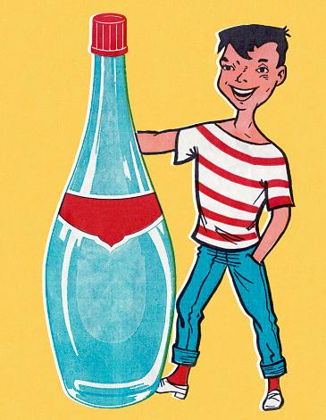 Boy Standing Next to Empty Bottle