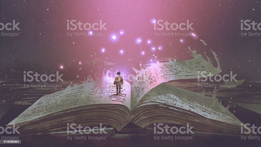 boy standing on the magic book vector art illustration