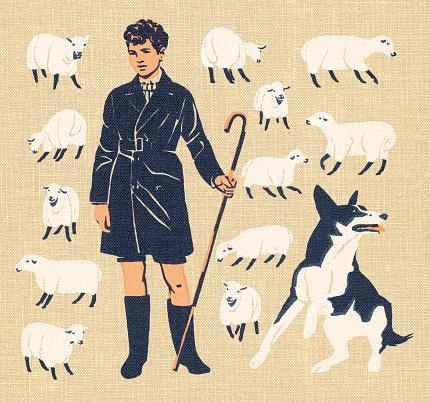 Boy Tending Sheep With Dog