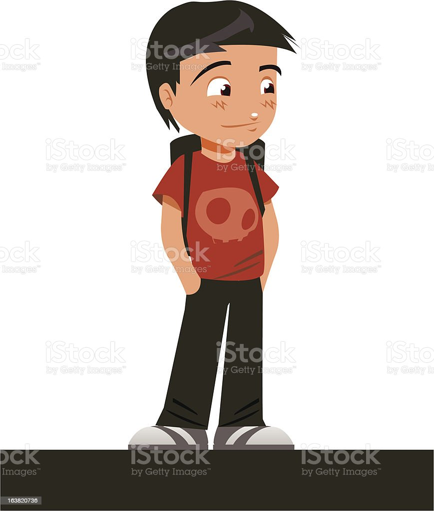 Boy waiting on his date royalty-free stock vector art
