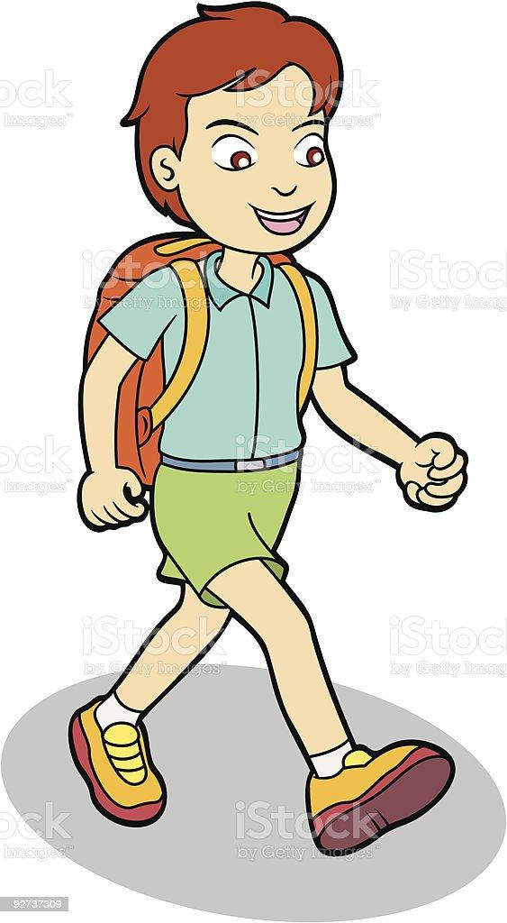 Junge zu Fuß zur Schule Lizenzfreies junge zu fuß zur schule stock vektor art und mehr bilder von bildung