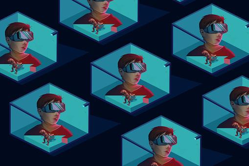 Boy wearing VR virtual reality headset seamless pattern