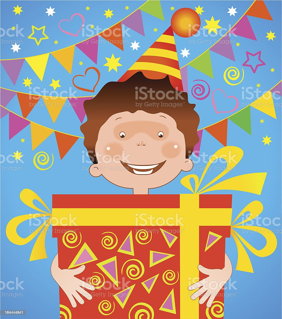 boy with a gift birthday royalty-free stock vector art