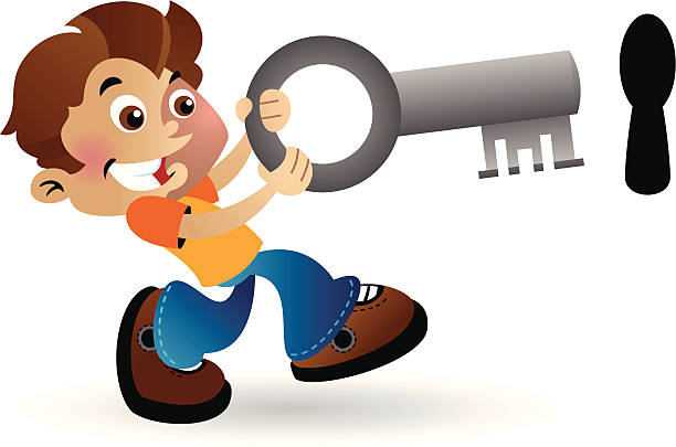Boy with a large key vector art illustration