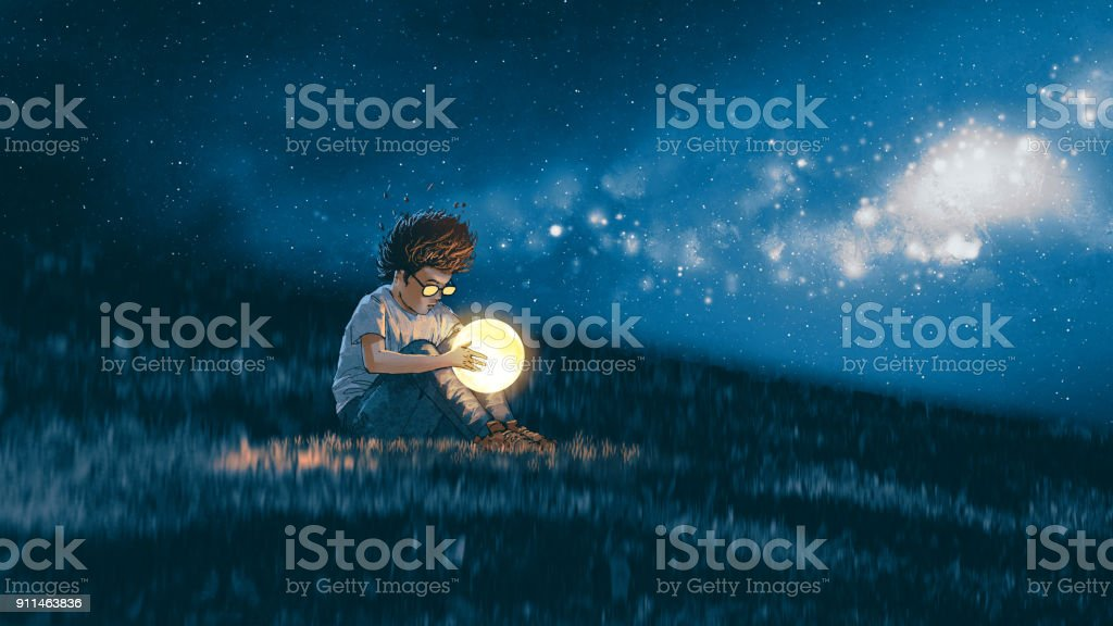 boy with a little moon in his hands vector art illustration